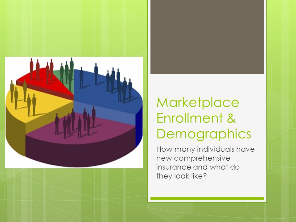 Marketplace Enrollment & Demographics How many individuals have new comprehensive insurance and what do they look like