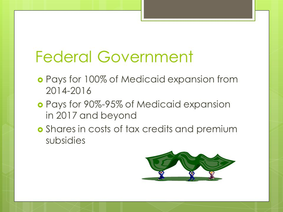 Federal Government  Pays for 100% of Medicaid expansion from 2014-2016  Pays for 90%-95% of Medicaid expansion in 2017 and beyond  Shares in costs of tax credits and premium subsidies