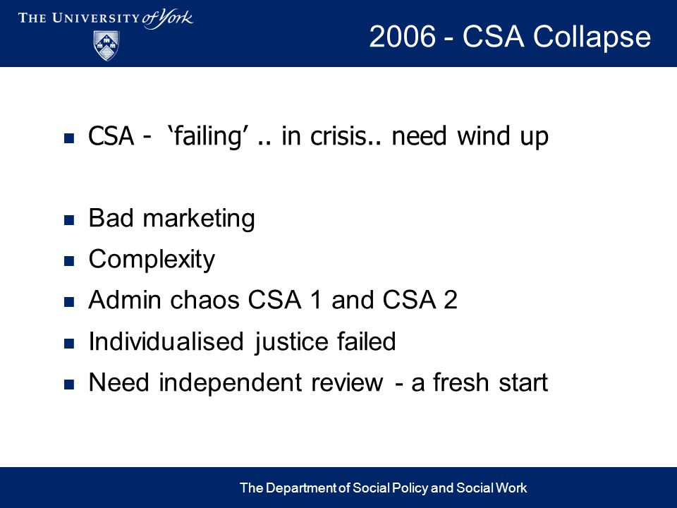 2006 - CSA Collapse The Department of Social Policy and Social Work CSA - 'failing'.. in crisis.. need wind up Bad marketing Complexity Admin chaos CS