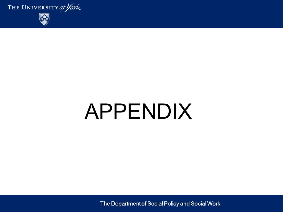 APPENDIX The Department of Social Policy and Social Work