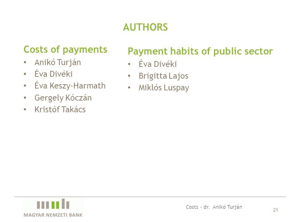 Costs of payments Anikó Turján Éva Divéki Éva Keszy-Harmath Gergely Kóczán Kristóf Takács 21 AUTHORS Payment habits of public sector Éva Divéki Brigit