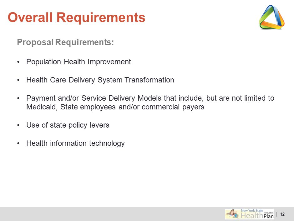 | 12 Proposal Requirements: Population Health Improvement Health Care Delivery System Transformation Payment and/or Service Delivery Models that inclu