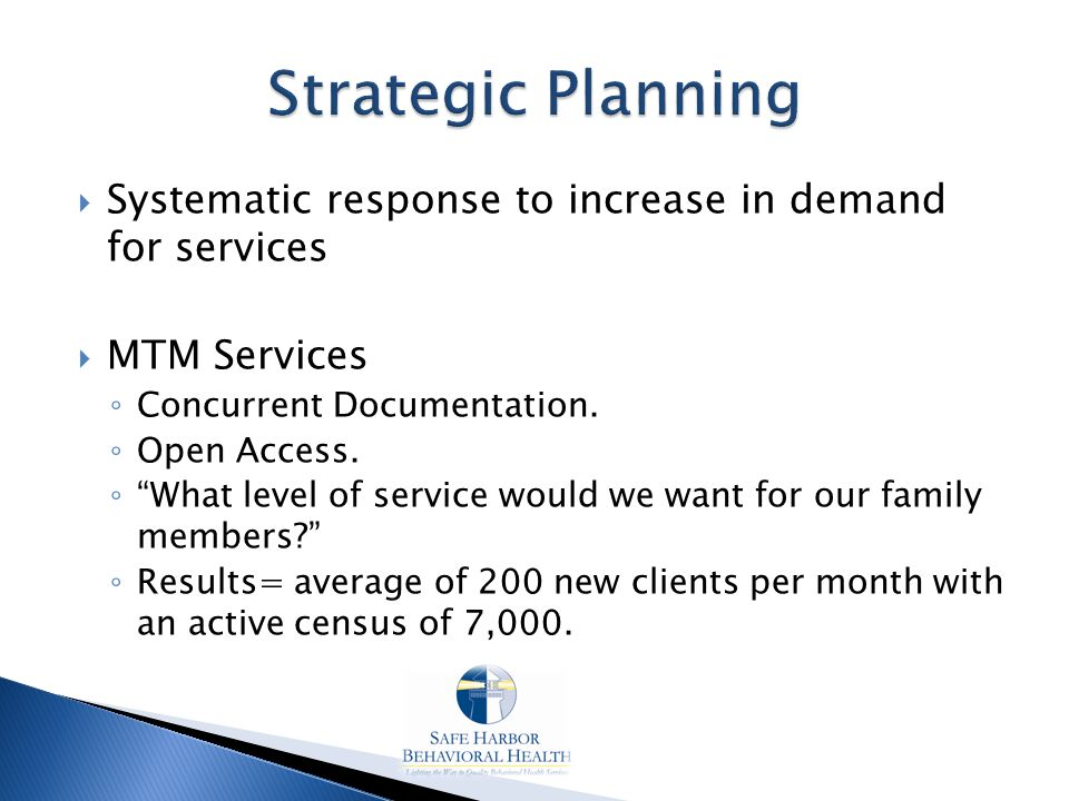  Systematic response to increase in demand for services  MTM Services ◦ Concurrent Documentation.