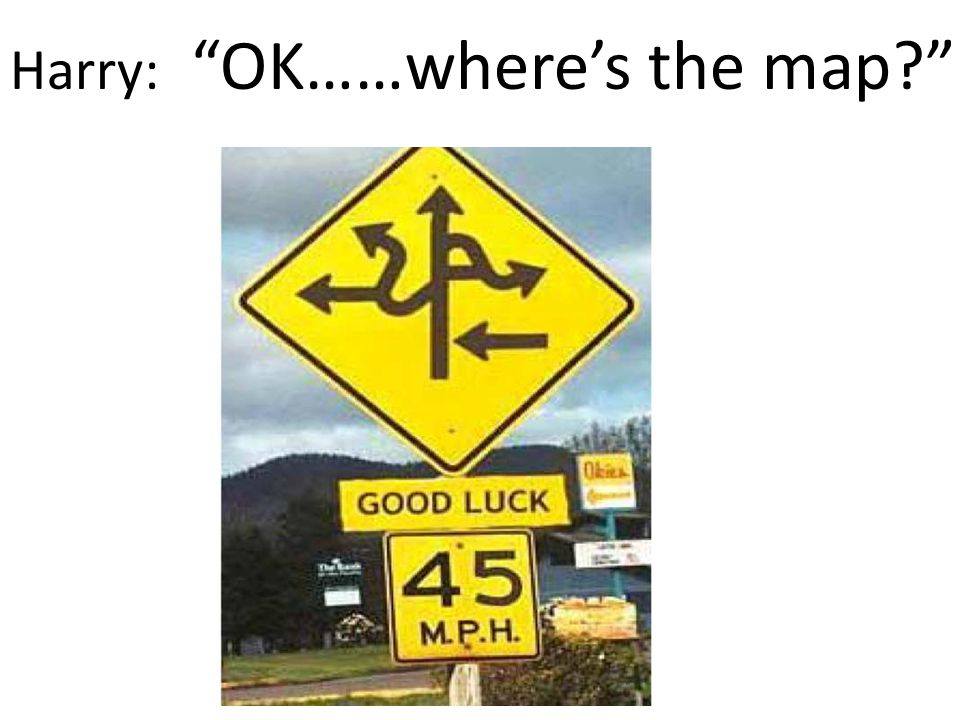 Harry, don't check the map while your driving!! Where should we go and how should we get there?