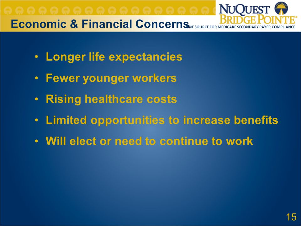 Economic & Financial Concerns Longer life expectancies Fewer younger workers Rising healthcare costs Limited opportunities to increase benefits Will e
