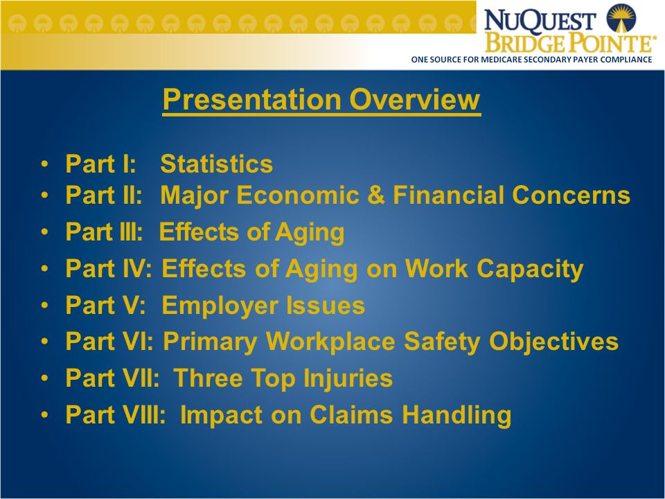 Part I: Statistics Part II: Major Economic & Financial Concerns Part III: Effects of Aging Part IV: Effects of Aging on Work Capacity Part V: Employer Issues Part VI: Primary Workplace Safety Objectives Part VII:Three Top Injuries Part VIII: Impact on Claims Handling Presentation Overview