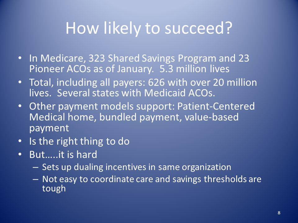 How likely to succeed. In Medicare, 323 Shared Savings Program and 23 Pioneer ACOs as of January.