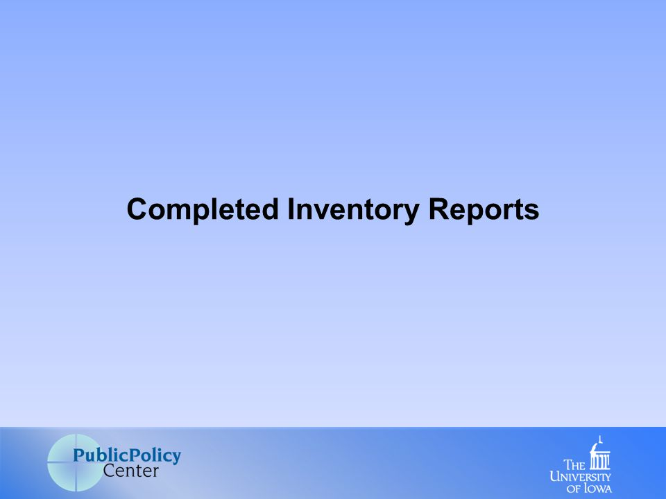 Completed Inventory Reports