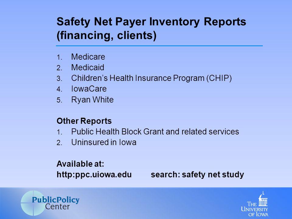 1. Medicare 2. Medicaid 3. Children's Health Insurance Program (CHIP) 4.