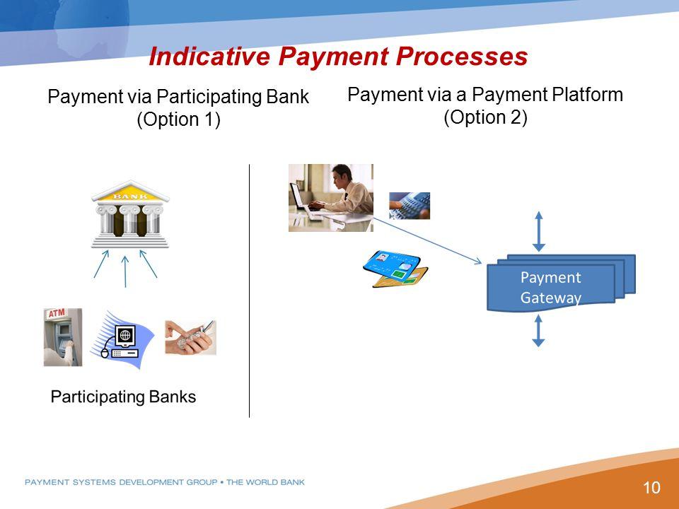 Indicative Payment Processes Payment via Participating Bank (Option 1) Payment via a Payment Platform (Option 2) 10
