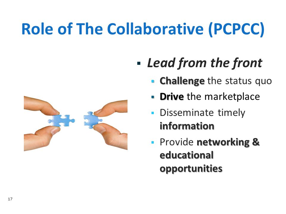 Role of The Collaborative (PCPCC) 17  Lead from the front  Challenge  Challenge the status quo  Drive  Drive the marketplace information  Disseminate timely information networking & educational opportunities  Provide networking & educational opportunities