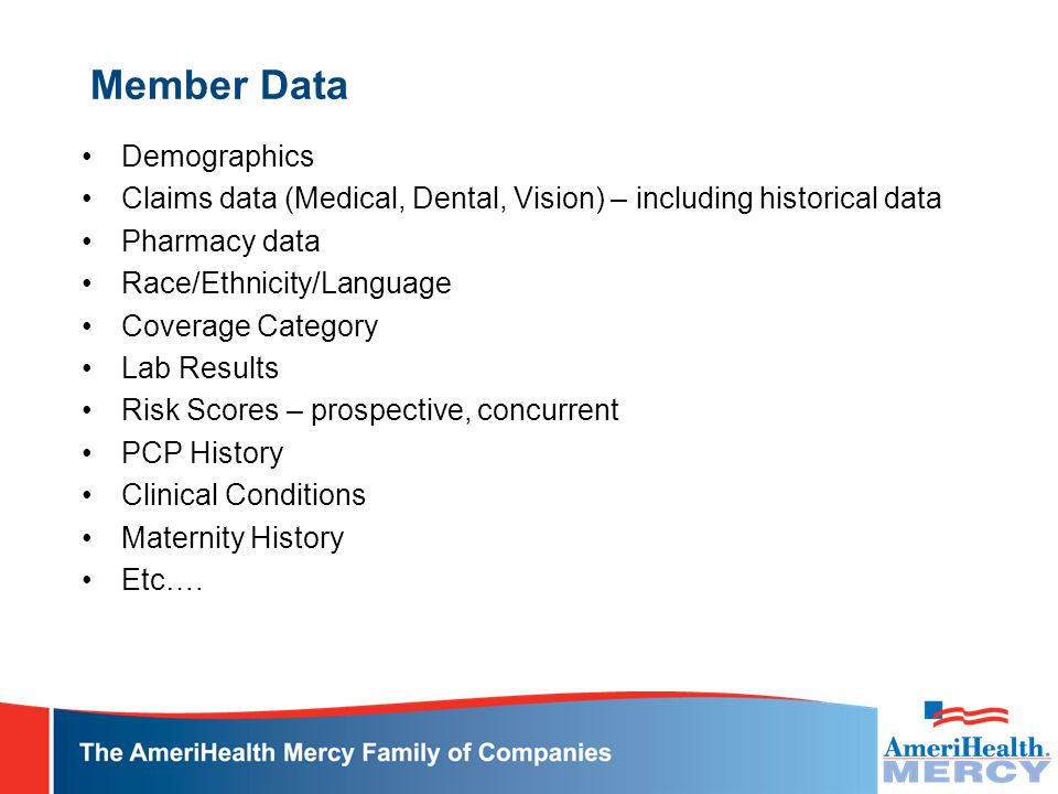 Member Data Demographics Claims data (Medical, Dental, Vision) – including historical data Pharmacy data Race/Ethnicity/Language Coverage Category Lab