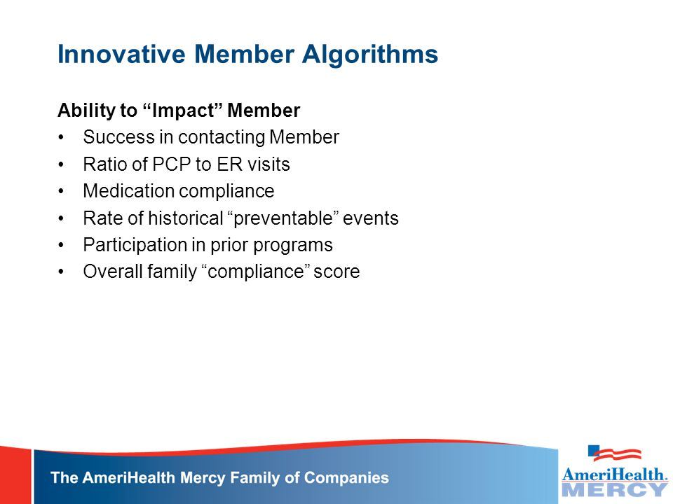 Innovative Member Algorithms Ability to Impact Member Success in contacting Member Ratio of PCP to ER visits Medication compliance Rate of historical preventable events Participation in prior programs Overall family compliance score