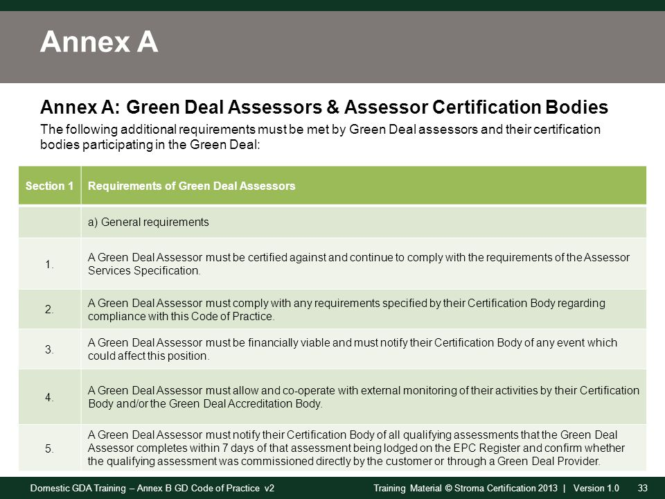Domestic GDA Training – Annex B GD Code of Practice v233Training Material © Stroma Certification 2013 | Version 1.0 Annex A Annex A: Green Deal Assessors & Assessor Certification Bodies The following additional requirements must be met by Green Deal assessors and their certification bodies participating in the Green Deal: Section 1Requirements of Green Deal Assessors a) General requirements 1.