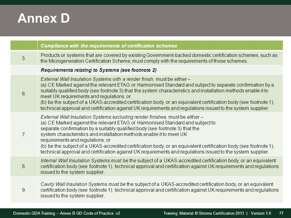 Domestic GDA Training – Annex B GD Code of Practice v277Training Material © Stroma Certification 2013 | Version 1.0 Annex D Compliance with the requirements of certification schemes 5.
