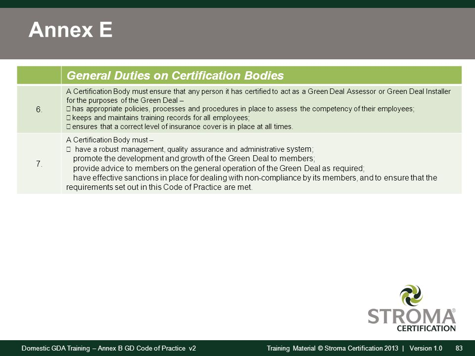 Domestic GDA Training – Annex B GD Code of Practice v283Training Material © Stroma Certification 2013 | Version 1.0 Annex E General Duties on Certification Bodies 6.