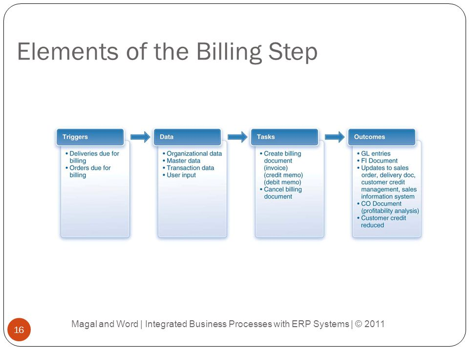 Elements of the Billing Step Magal and Word | Integrated Business Processes with ERP Systems | © 2011 16