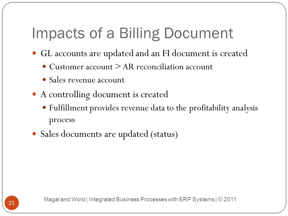 Impacts of a Billing Document GL accounts are updated and an FI document is created Customer account > AR reconciliation account Sales revenue account A controlling document is created Fulfillment provides revenue data to the profitability analysis process Sales documents are updated (status) Magal and Word | Integrated Business Processes with ERP Systems | © 2011 21