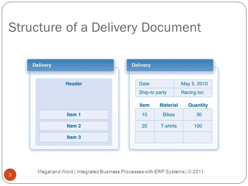 Structure of a Delivery Document Magal and Word | Integrated Business Processes with ERP Systems | © 2011 3