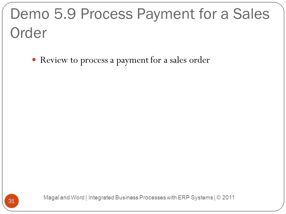 Demo 5.9 Process Payment for a Sales Order Review to process a payment for a sales order Magal and Word | Integrated Business Processes with ERP Systems | © 2011 31
