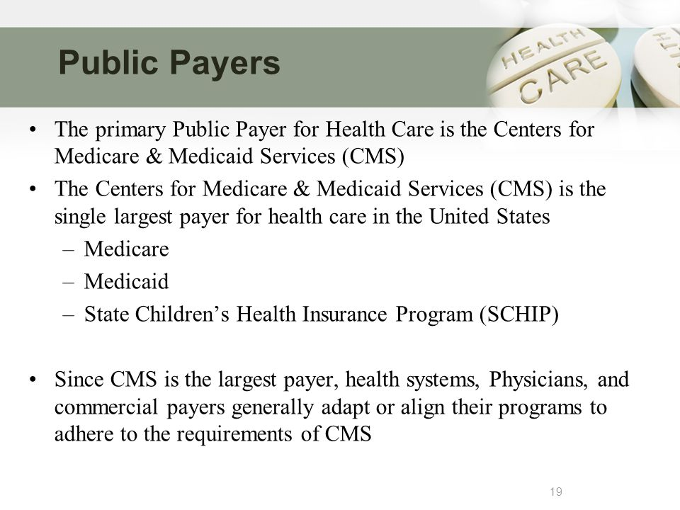 Public Payers 19 The primary Public Payer for Health Care is the Centers for Medicare & Medicaid Services (CMS) The Centers for Medicare & Medicaid Services (CMS) is the single largest payer for health care in the United States –Medicare –Medicaid –State Children's Health Insurance Program (SCHIP) Since CMS is the largest payer, health systems, Physicians, and commercial payers generally adapt or align their programs to adhere to the requirements of CMS