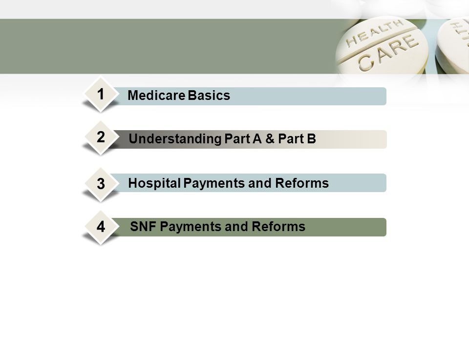 Medicare Basics Understanding Part A & Part B Hospital Payments and Reforms Conclusion 1 2 3 4 SNF Payments and Reforms