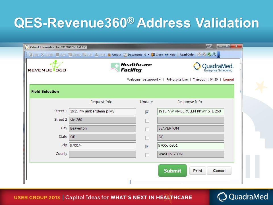 QES-Revenue360 ® Address Validation
