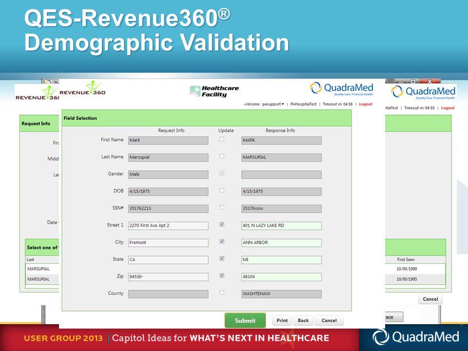 QES-Revenue360 ® Demographic Validation