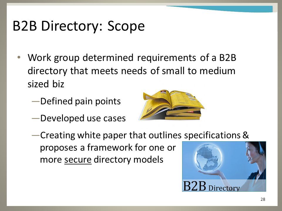 B2B Directory: Scope Work group determined requirements of a B2B directory that meets needs of small to medium sized biz —Defined pain points —Developed use cases —Creating white paper that outlines specifications & proposes a framework for one or more secure directory models 28