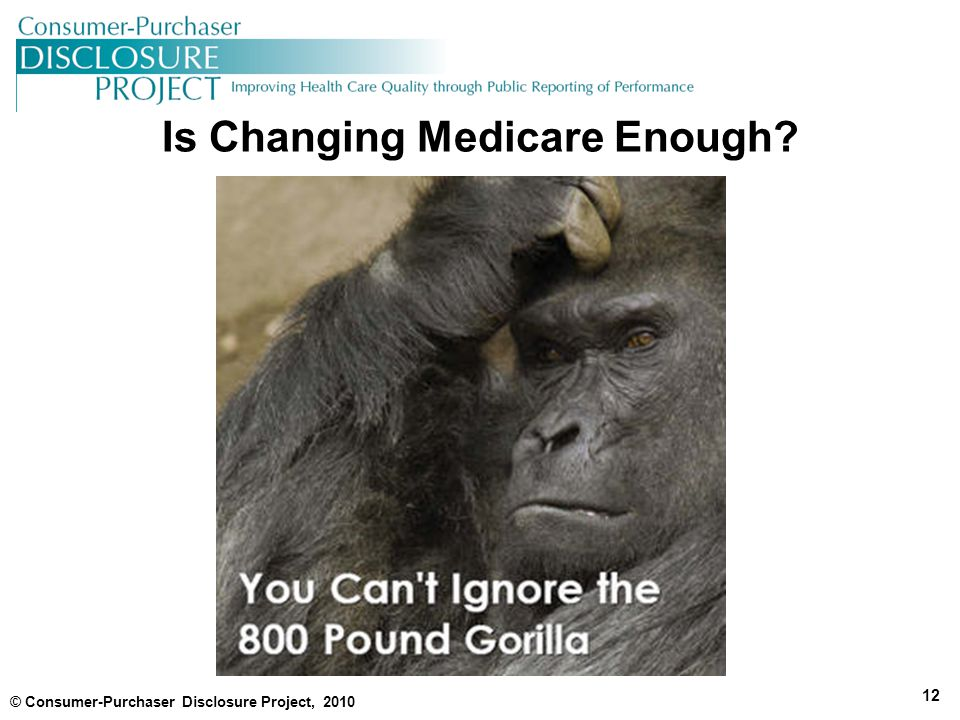 Is Changing Medicare Enough © Consumer-Purchaser Disclosure Project, 2010 12