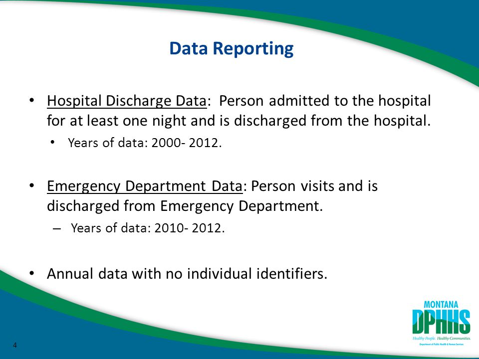 Data Reporting Hospital Discharge Data: Person admitted to the hospital for at least one night and is discharged from the hospital.