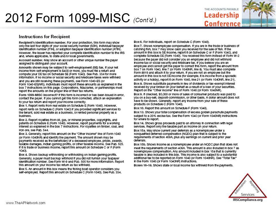 www.TheAPNetwork.com 2012 Form 1099-MISC (Cont'd.)