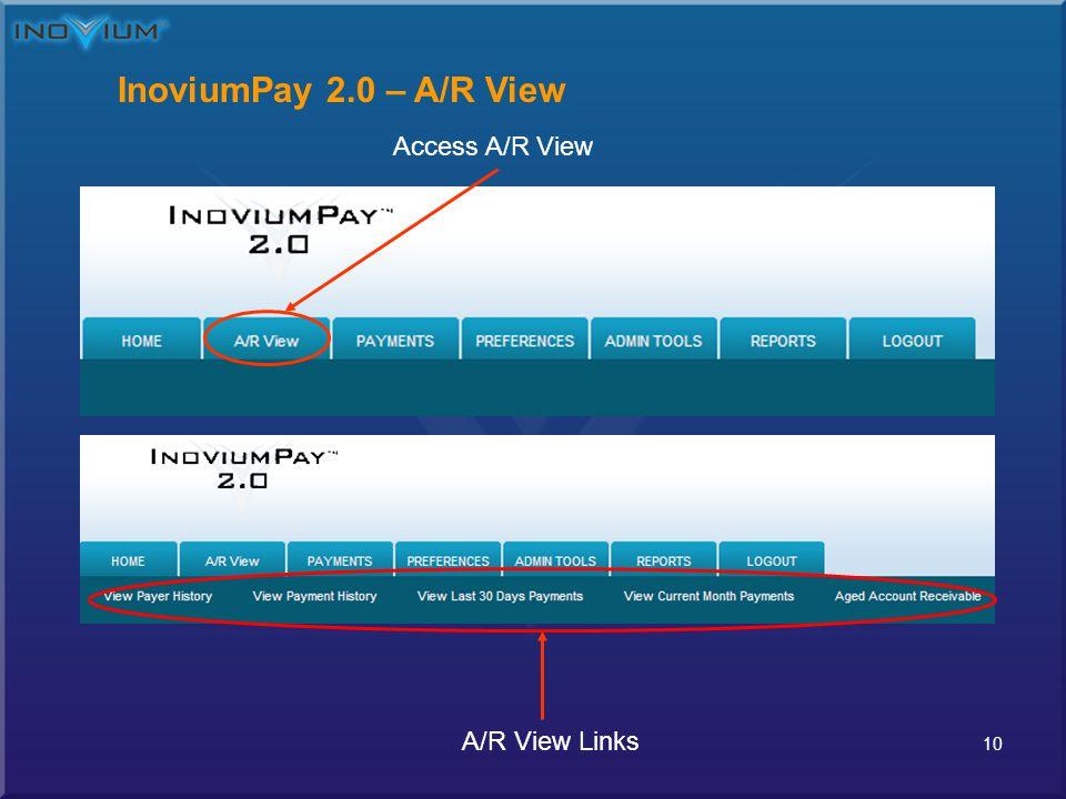 10 InoviumPay 2.0 – A/R View Access A/R View A/R View Links