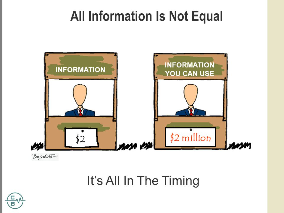 All Information Is Not Equal INFORMATION YOU CAN USE It's All In The Timing $2 $2 million 