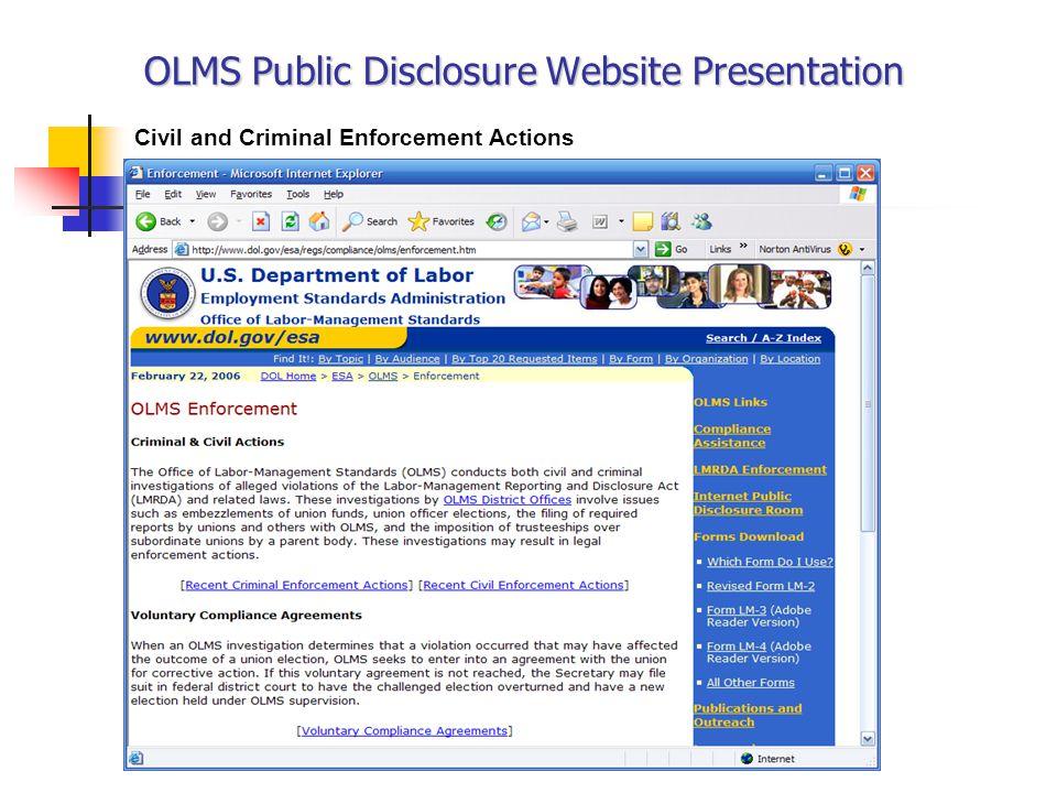 OLMS Public Disclosure Website Presentation Civil and Criminal Enforcement Actions