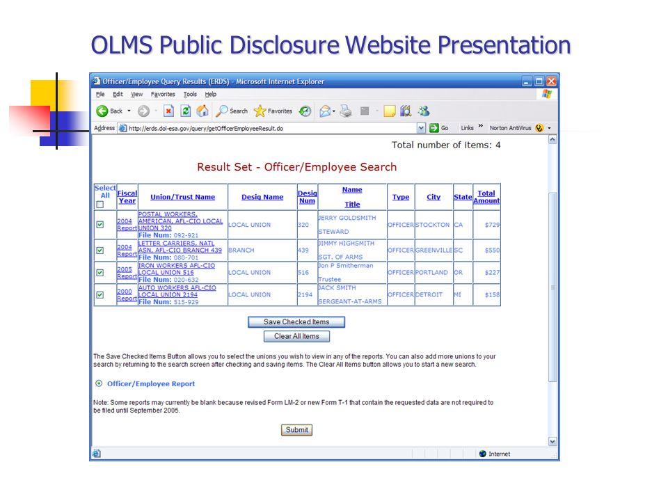 OLMS Public Disclosure Website Presentation