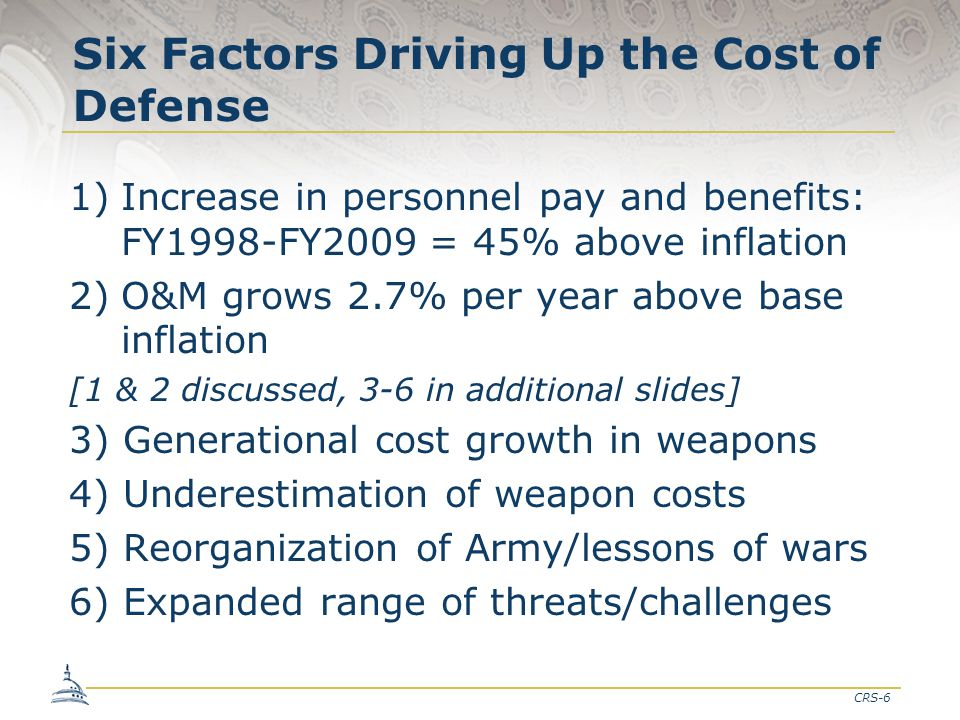 CRS-6 Six Factors Driving Up the Cost of Defense 1)Increase in personnel pay and benefits: FY1998-FY2009 = 45% above inflation 2)O&M grows 2.7% per ye