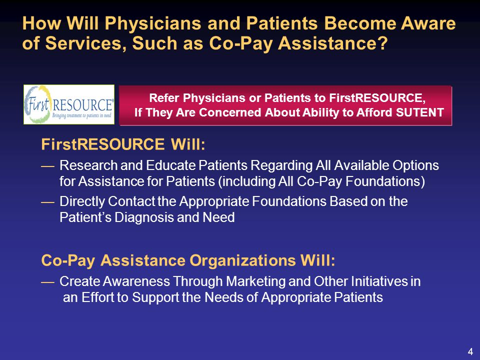 4 FirstRESOURCE Will: —Research and Educate Patients Regarding All Available Options for Assistance for Patients (including All Co-Pay Foundations) —Directly Contact the Appropriate Foundations Based on the Patient's Diagnosis and Need Co-Pay Assistance Organizations Will: —Create Awareness Through Marketing and Other Initiatives in an Effort to Support the Needs of Appropriate Patients How Will Physicians and Patients Become Aware of Services, Such as Co-Pay Assistance.