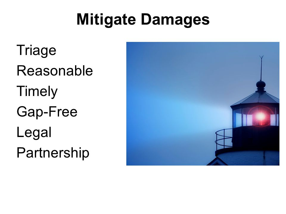 Mitigate Damages Carriers Must –Take reasonable care to minimize loss (after they are aware) Cargo Receiver Must –Accept cargo –Mitigate loss Surveyors have role in mitigation of loss