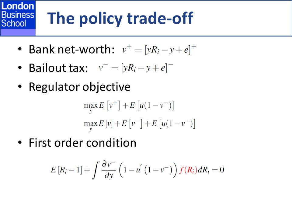 The policy trade-off Bank net-worth: Bailout tax: Regulator objective First order condition