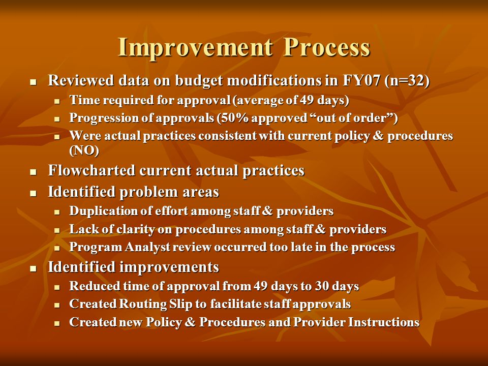 Improvement Process Reviewed data on budget modifications in FY07 (n=32) Reviewed data on budget modifications in FY07 (n=32) Time required for approv