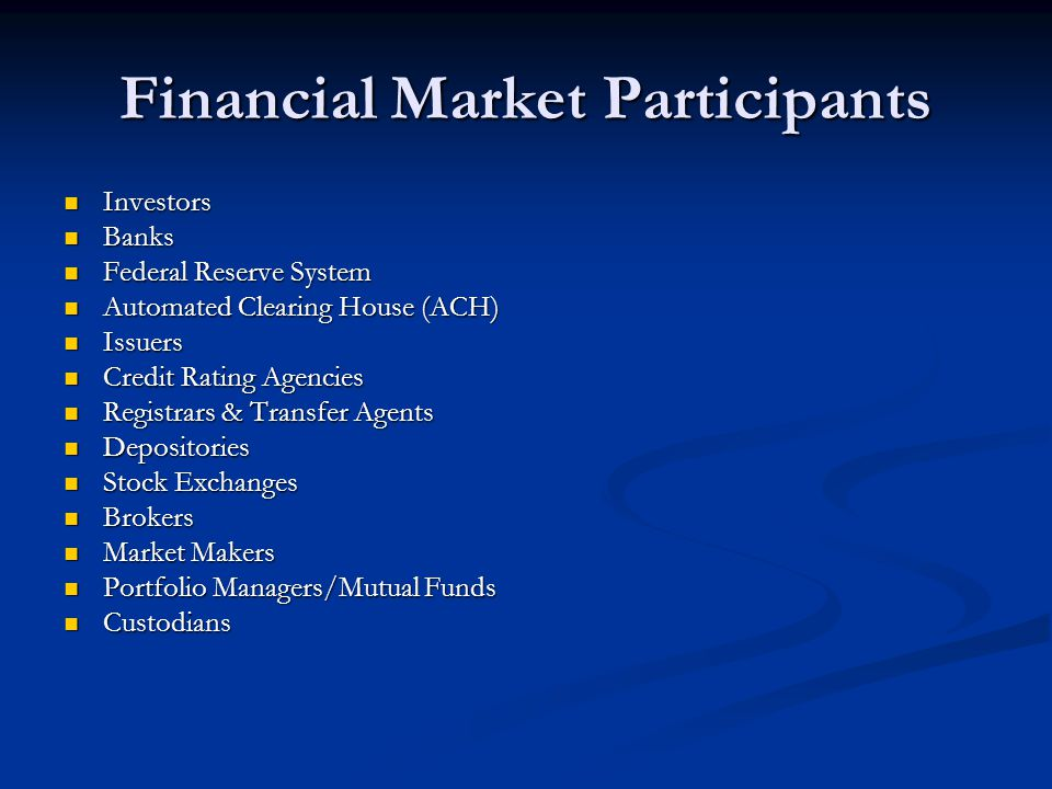 Financial Market Participants Investors Investors Banks Banks Federal Reserve System Federal Reserve System Automated Clearing House (ACH) Automated C