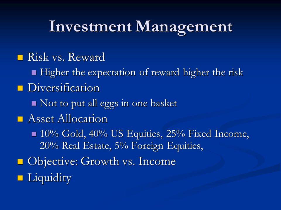 Investment Management Risk vs.Reward Risk vs.