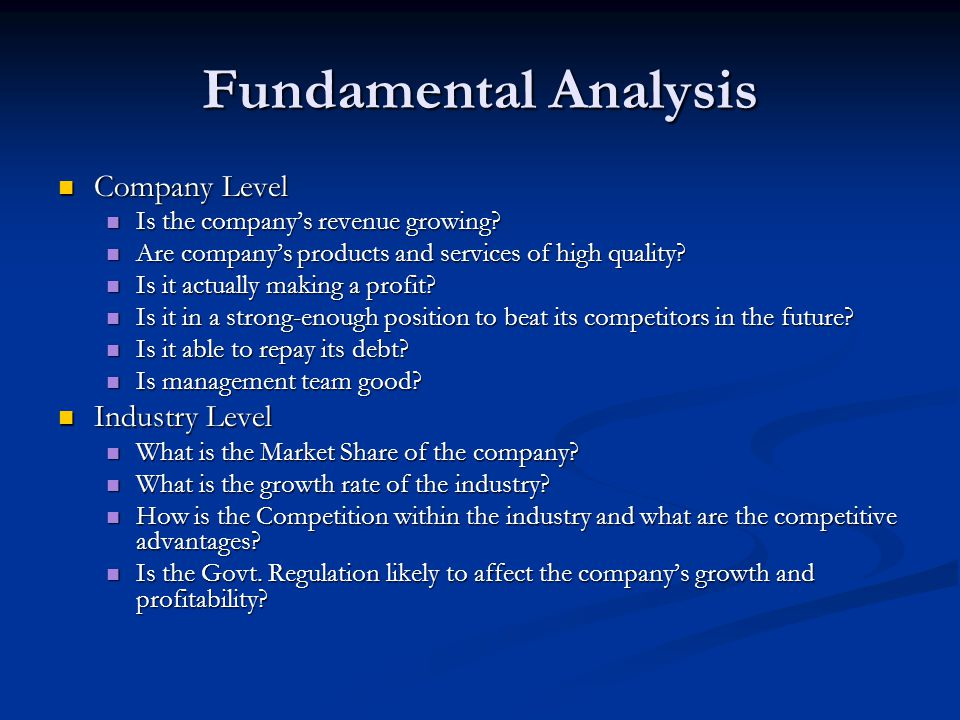 Fundamental Analysis Company Level Company Level Is the company's revenue growing.