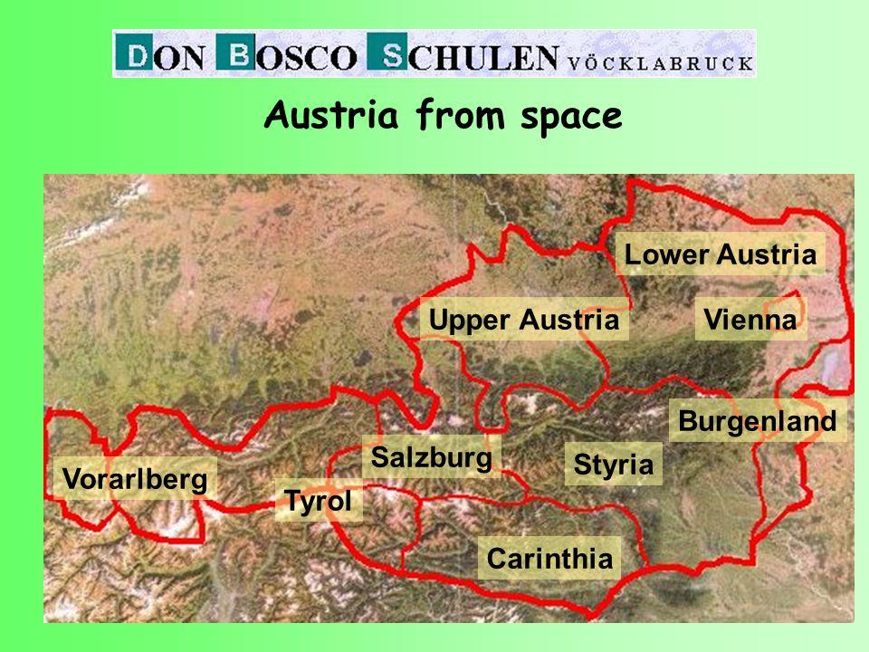 Upper Austria Vorarlberg Tyrol Salzburg Carinthia Styria Lower Austria Vienna Burgenland Austria from space