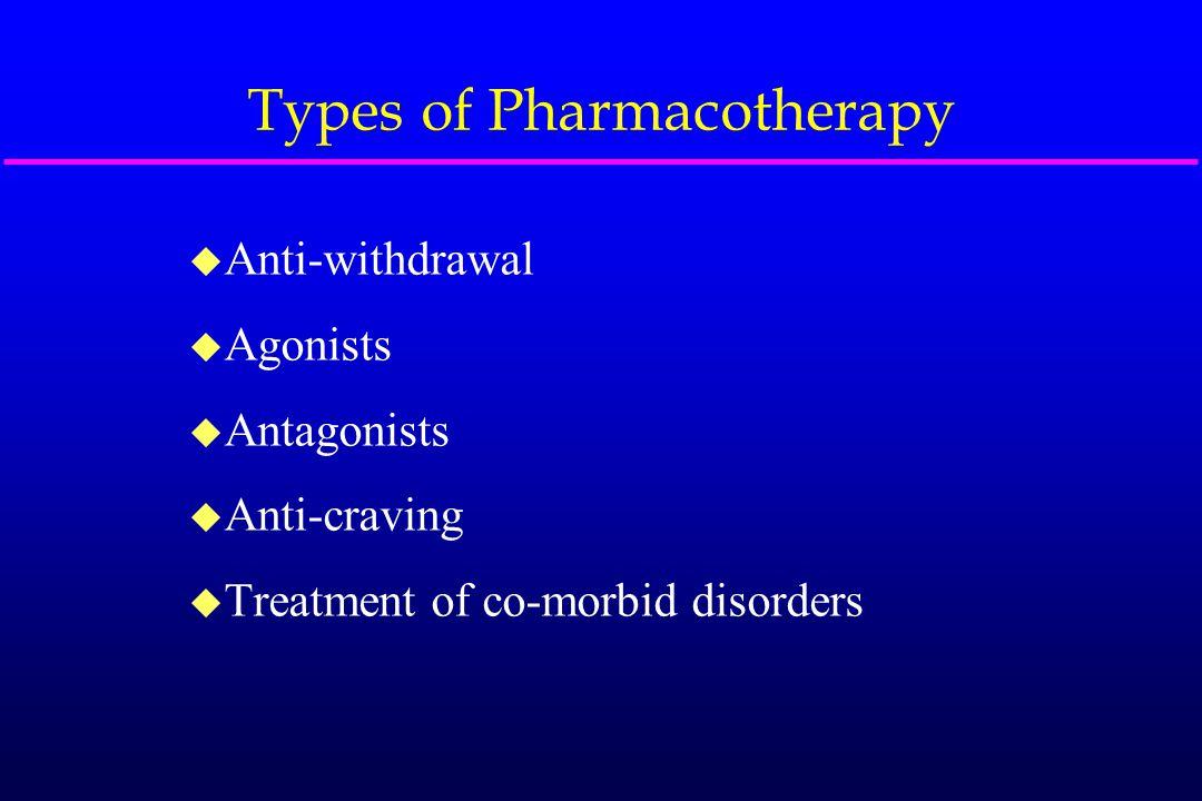 Types of Pharmacotherapy u Anti-withdrawal u Agonists u Antagonists u Anti-craving u Treatment of co-morbid disorders