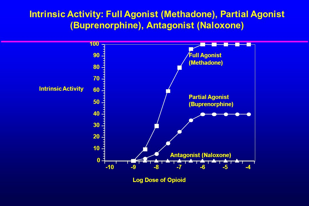 -10-9-8-7-6-5-4 0 10 20 30 40 50 60 70 80 90 100 Intrinsic Activity Log Dose of Opioid Full Agonist (Methadone) Partial Agonist (Buprenorphine) Antago