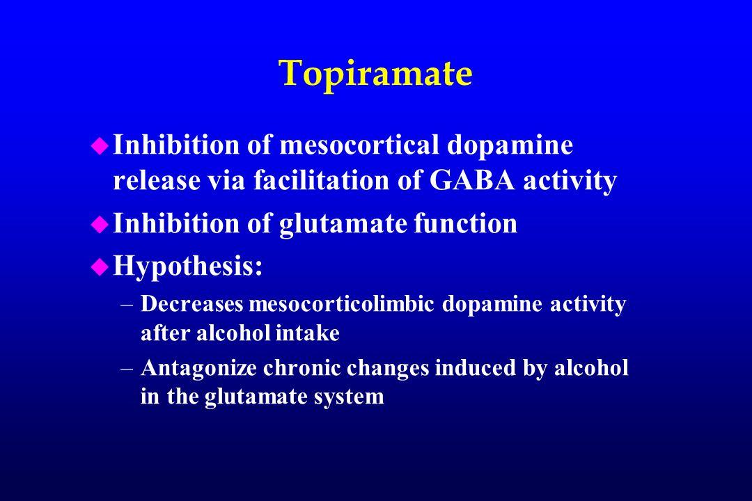 Topiramate u Inhibition of mesocortical dopamine release via facilitation of GABA activity u Inhibition of glutamate function u Hypothesis: –Decreases