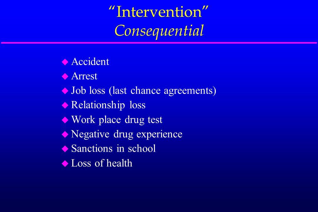 """Intervention"" Consequential u Accident u Arrest u Job loss (last chance agreements) u Relationship loss u Work place drug test u Negative drug experi"