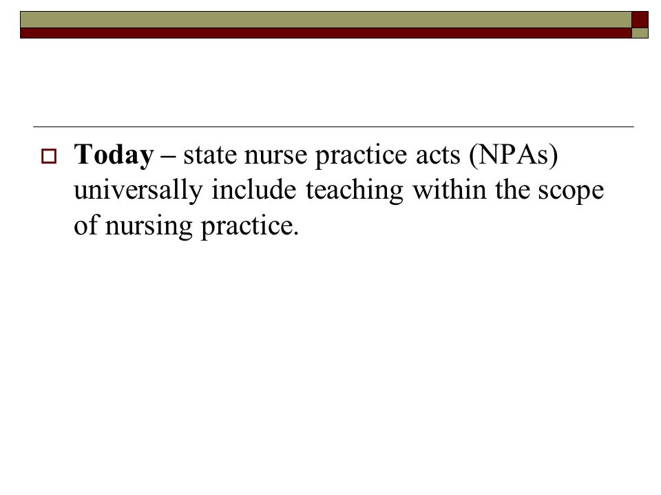  Today – state nurse practice acts (NPAs) universally include teaching within the scope of nursing practice.